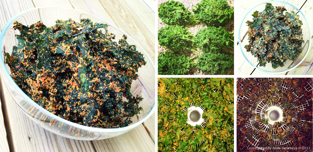 Kale chips before and after